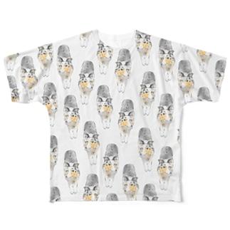 ひたすらノビノビ~シェルティー(ブルーマールグッズ) Full graphic T-shirts