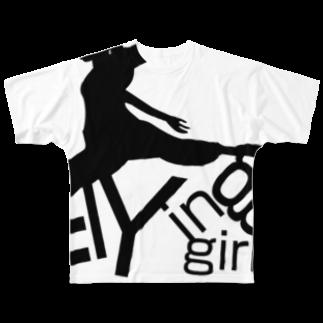 taketaketakeのフライングガールフルグラフィックTシャツ