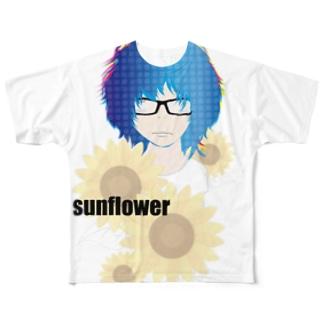ひまわりと少女とメガネ フルグラフィックTシャツ