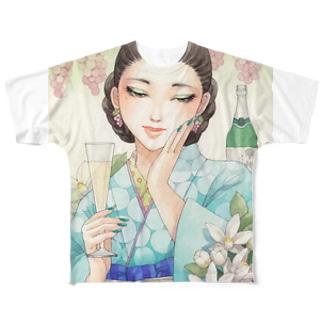 ワイン女子・甲州酵母の泡 Full graphic T-shirts