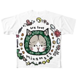 〜からくさねこ〜 we love minamata フルグラフィックTシャツ