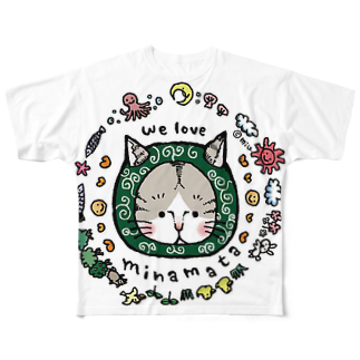 ほっかむねこ屋@9/3−9 東急ハンズ池袋1Fの〜からくさねこ〜 we love minamata フルグラフィックTシャツ