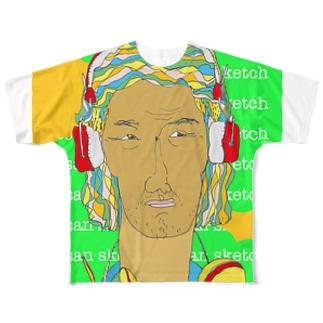 ヘッドホンのオッサン フルグラフィックTシャツ