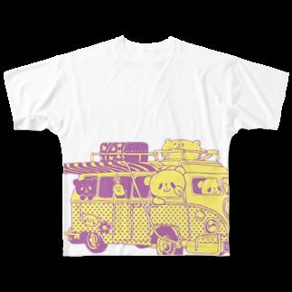 おやまくまオフィシャルWEBSHOP:SUZURI店のドライブおやまくまフルグラフィックTシャツ