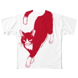 でかねこA赤 フルグラフィックTシャツ