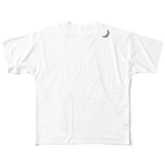 三日月☆ 黒 フルグラフィックTシャツ