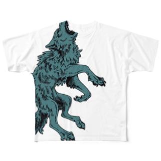 飛び出し狼シャツ Full graphic T-shirts