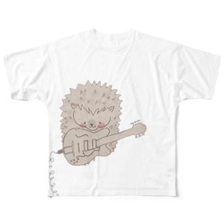 ハリネズミ( ギター) フルグラフィックTシャツ