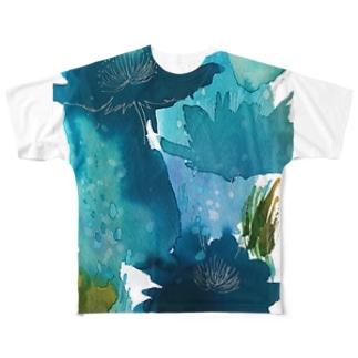 青い花_b フルグラフィックTシャツ
