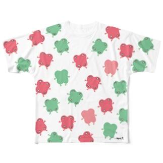 ikimono(pink&green) フルグラフィックTシャツ