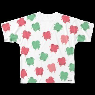 シモウラ マユミのikimono(pink&green)フルグラフィックTシャツ