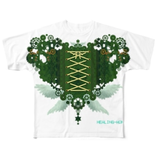 歯車(heart・G/グリーン) Full graphic T-shirts