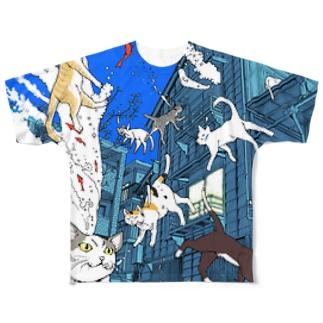 猫と家 フルグラフィックTシャツ
