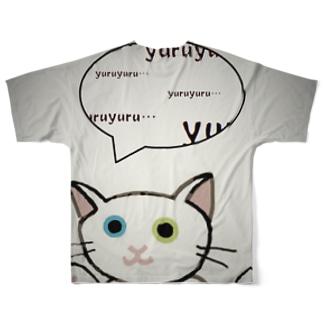 ゆる猫オッド シルバー Full graphic T-shirts