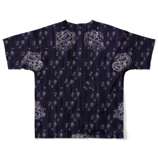 能面と牡丹の総柄模様 Full graphic T-shirts