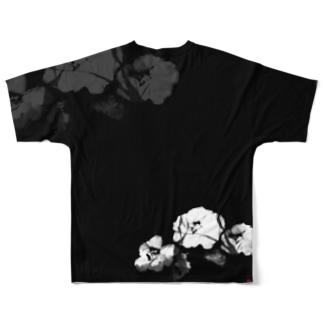 寒椿_White Full graphic T-shirts