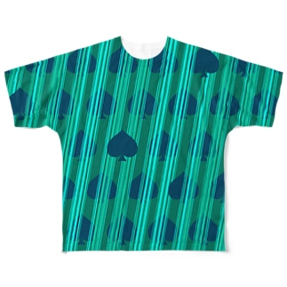 ストライプ(スペード) Full graphic T-shirts