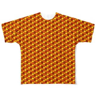 幾何学模様(オレンジ) Full graphic T-shirts