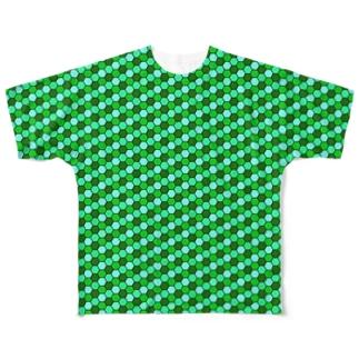 幾何学模様(グリーン) Full graphic T-shirts