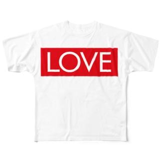 LOVE 赤ラベル Full graphic T-shirts