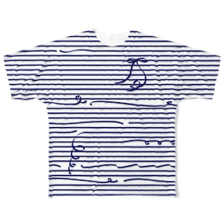 Navy Stripes Full graphic T-shirts
