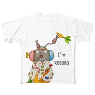 ROBOBO 「まーぶるロボ」ウサギ スチームパンク Full graphic T-shirts