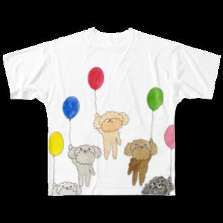 ねこぜや のプードルズ 風船 Full graphic T-shirts