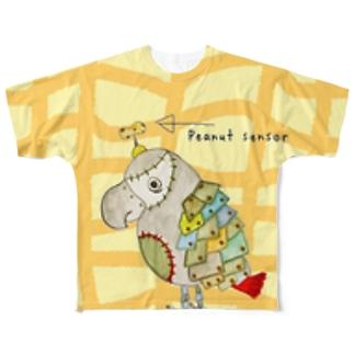 ROBOBO 福ちゃんロボ ピーナッツ柄 Full graphic T-shirts