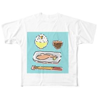 朝食にまぎれるハムスター(和食) Full graphic T-shirts