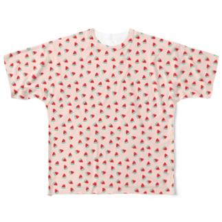 いっぱいスイカ(ピンク) Full graphic T-shirts