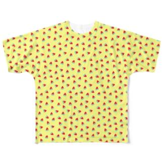 いっぱいスイカ(イエロー) Full graphic T-shirts