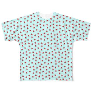 いっぱいスイカ(スカイブルー) Full graphic T-shirts