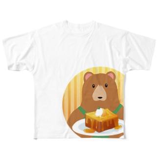 クマ店長のハニートースト Full graphic T-shirts