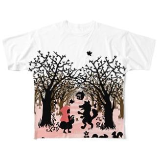 赤ずきん【赤ずきんとオオカミ】シルエット Full graphic T-shirts