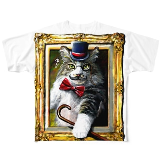 吾輩は猫でR Full graphic T-shirts