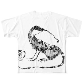 しゅるしゅるとかげ Full graphic T-shirts