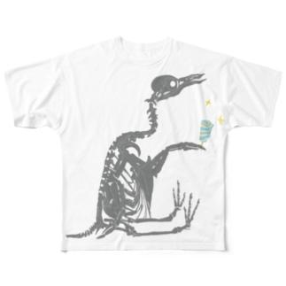 おすわり骨ちゃん Full graphic T-shirts