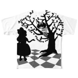 不思議の国のアリス【チェシャ猫】シルエット Full graphic T-shirts