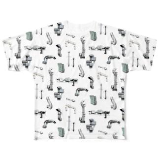 ダクトがたくさん フルグラフィックTシャツ