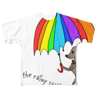 YOSHIE.KUROIWAのWalk in the rainy Italiangreyhound フルグラフィックTシャツ