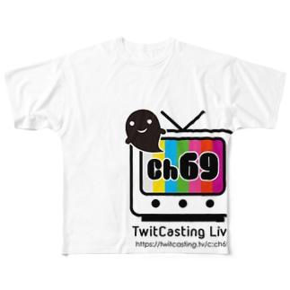 ch69~チャンネルロック~白bar Full graphic T-shirts