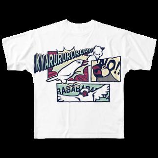 もしもしこちら文鳥のアメコミ文鳥 フルグラフィックTシャツ