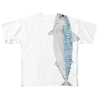 サバ(縦向きタイプ) Full graphic T-shirts