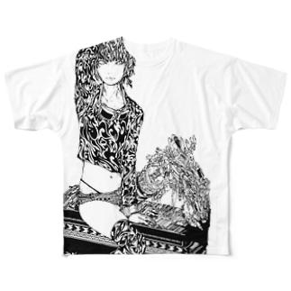 トライバルメカっ子 Full graphic T-shirts