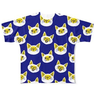 北欧風にゃんこ ネイビー×黄色 Full graphic T-shirts