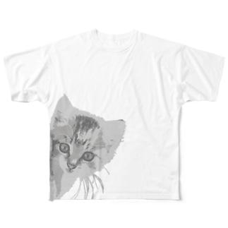 子猫(ひょっこり) Full graphic T-shirts