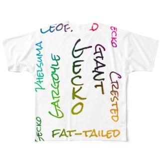 爬虫類 ゲッコー  Full graphic T-shirts