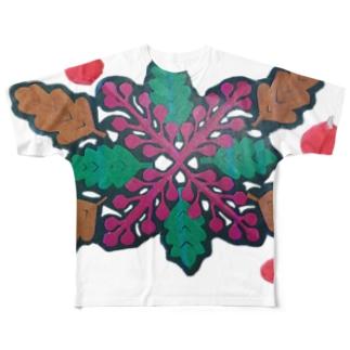 りんごと柊南天 Full graphic T-shirts
