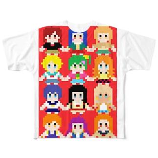 ムッツリおっちのナナシスドット絵 Full graphic T-shirts
