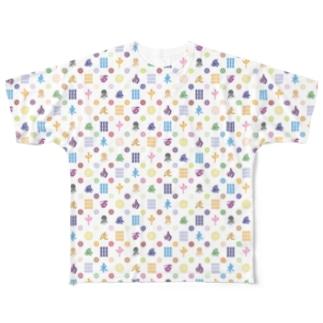 麻雀牌モノグラム Full graphic T-shirts